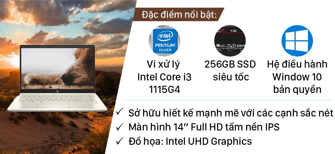 HP Pavilion 14-dv0005TU (2D7A1PA) i3-1115G4 | 4GB | 256GB | Intel UHD Graphics | 14