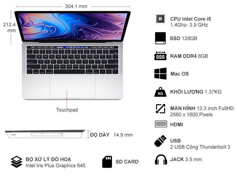 Laptop Apple Macbook Pro Touch 2019 i5 1.4GHz/8GB/128GB (MUHQ2SA/A)