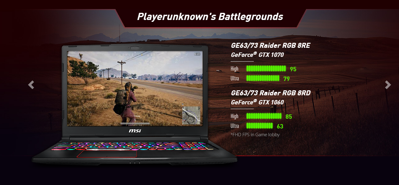 MSI GE63 8RE-266VN Raider RGB Edition pubg